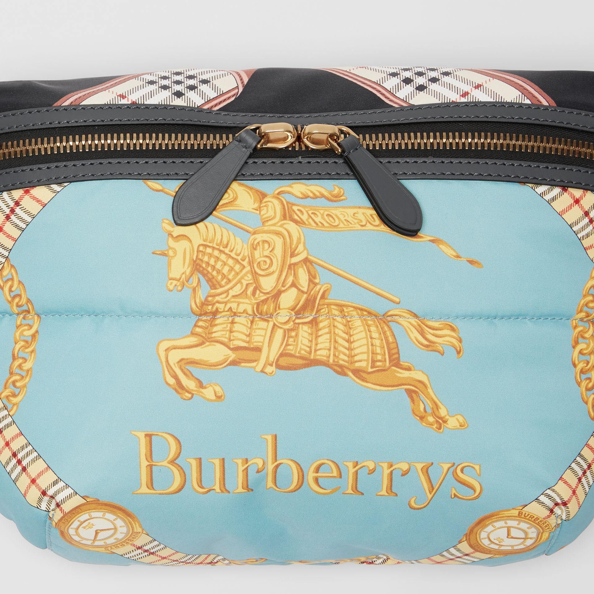 Large Archive Scarf Print Bum Bag in Pale Stone Blue - Men | Burberry - gallery image 1