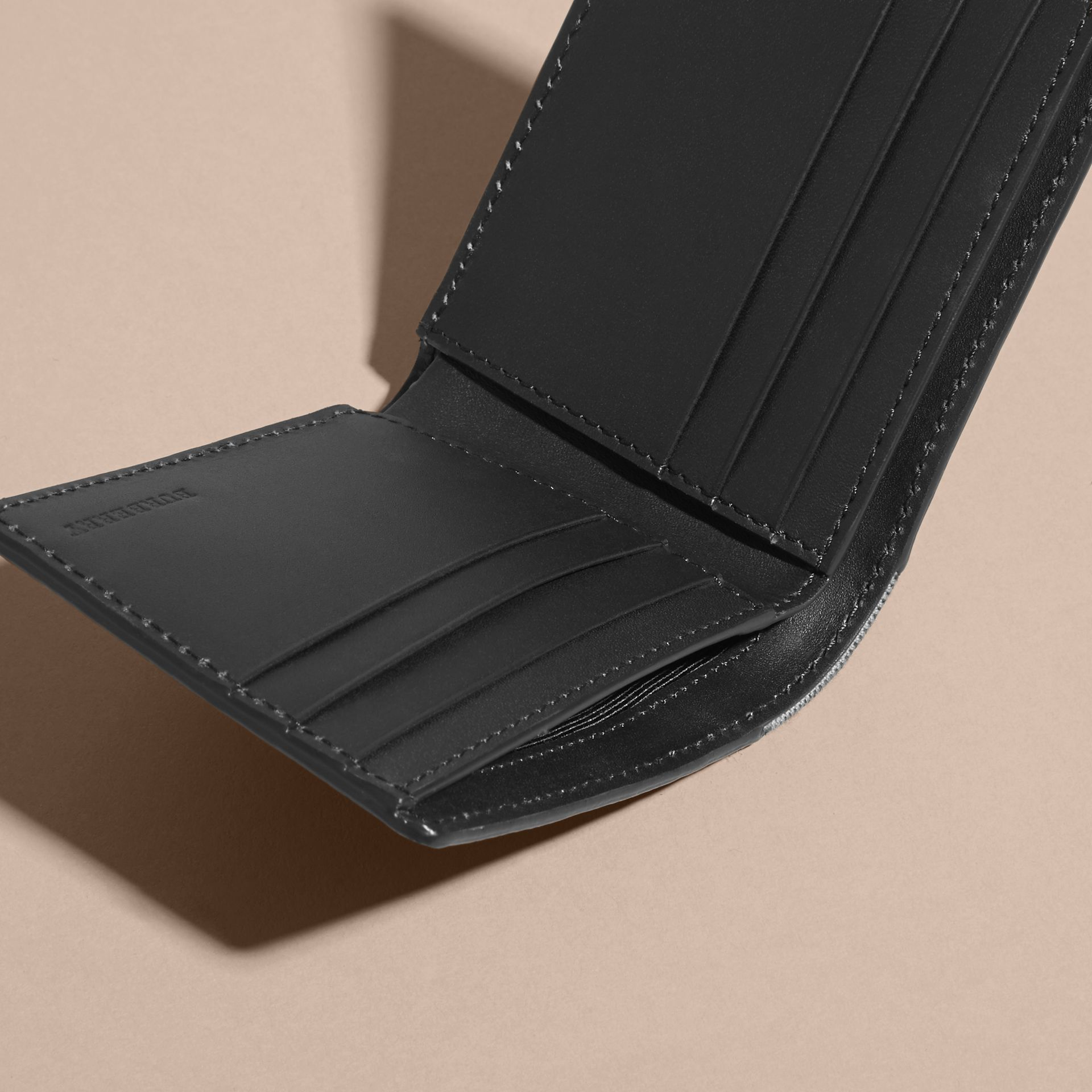 Grainy Leather and House Check Bifold Wallet in Black | Burberry - gallery image 3