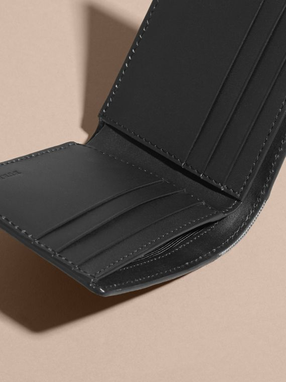 Grainy Leather and House Check Bifold Wallet in Black | Burberry - cell image 3