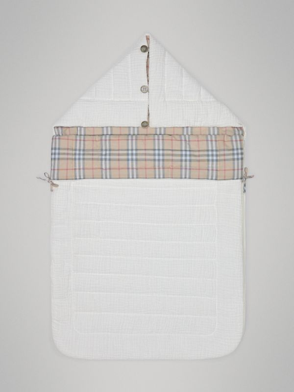 Check Cotton Baby Nest in White - Children | Burberry - cell image 2