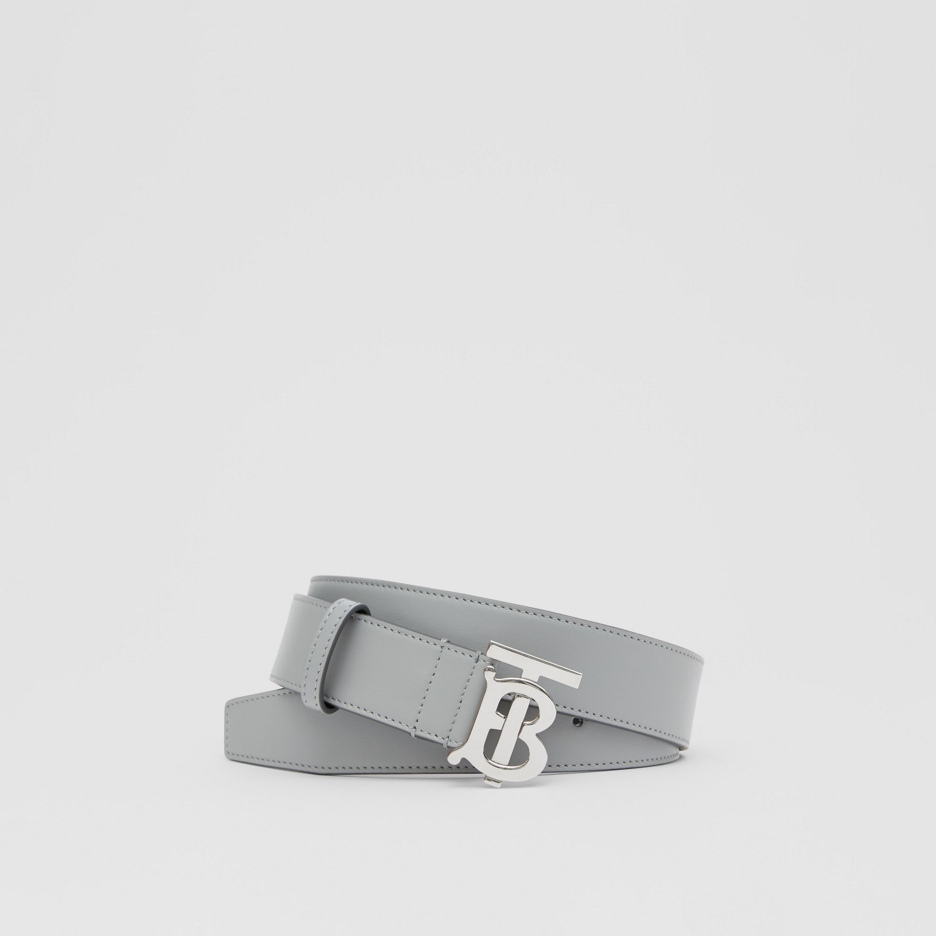 Monogram Motif Leather Belt in Cloud Grey - Men | Burberry - gallery image 0