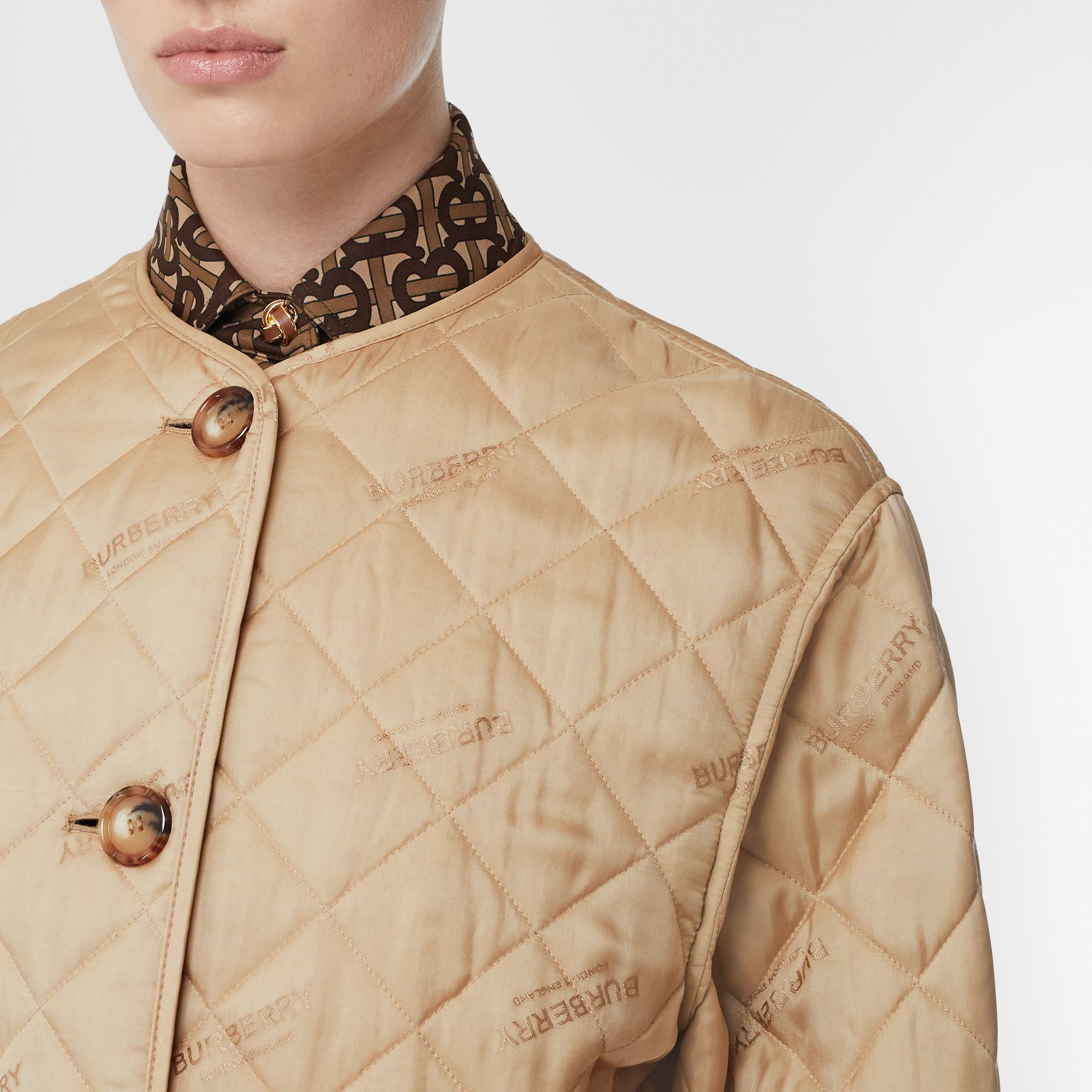 Logo Jacquard Diamond Quilted Jacket in Ecru - Women | Burberry United Kingdom - gallery image 1
