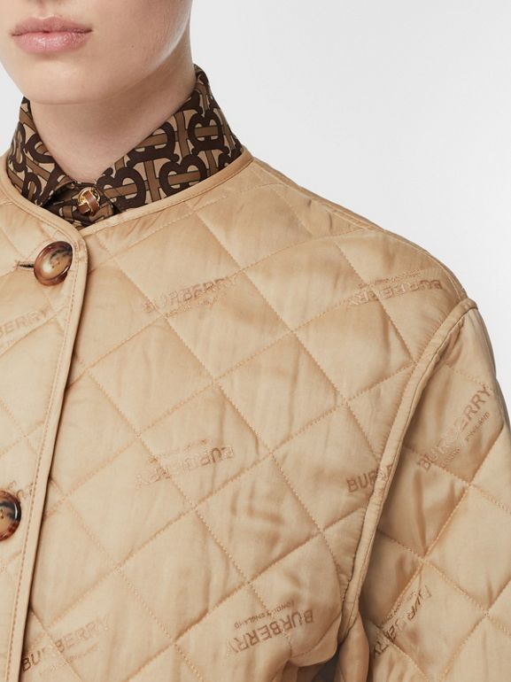 Logo Jacquard Diamond Quilted Jacket in Ecru - Women | Burberry United Kingdom - cell image 1