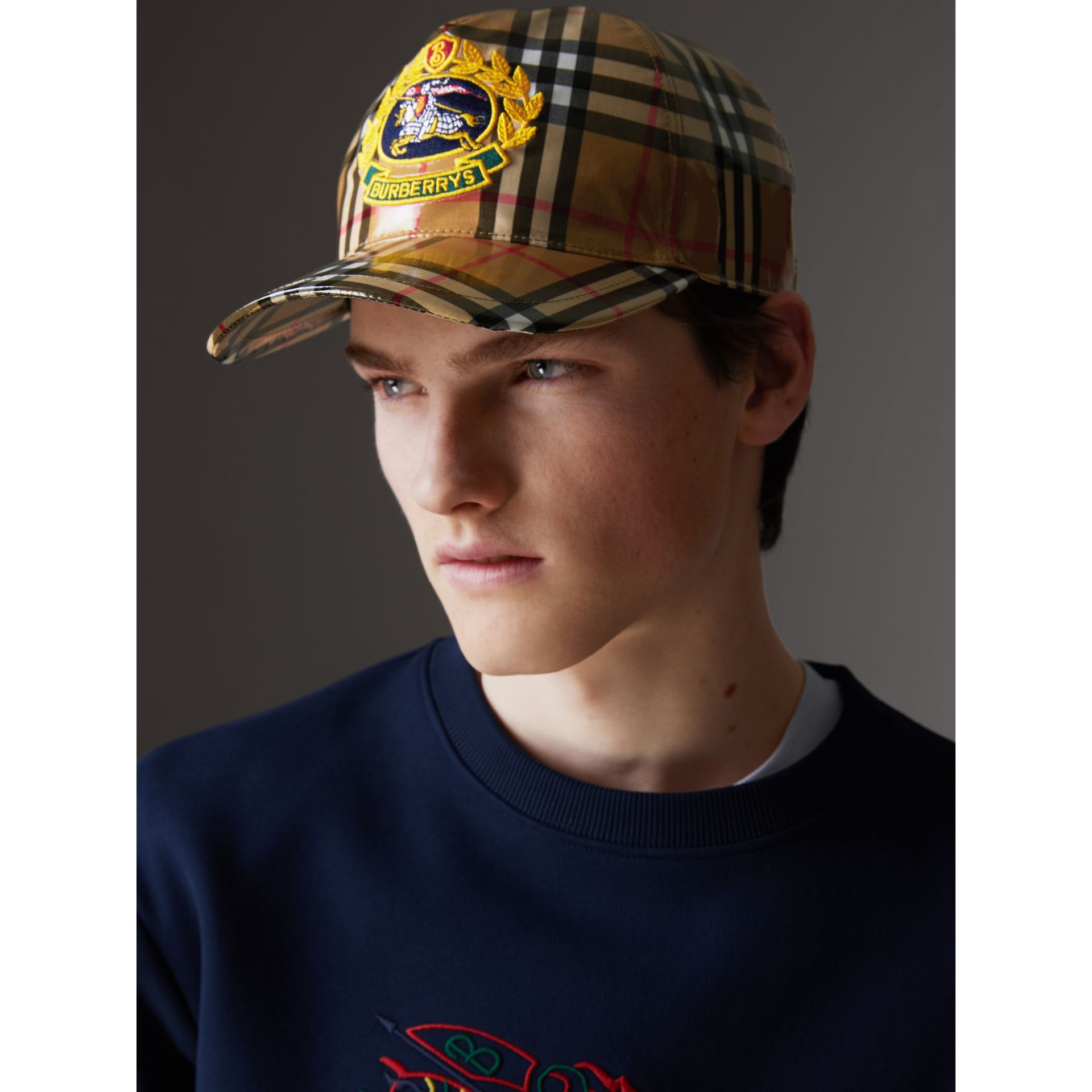 Archive Logo Coated Vintage Check Baseball Cap in Antique Yellow | Burberry Australia - gallery image 3