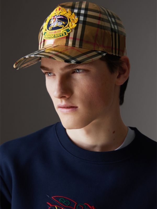 Archive Logo Coated Vintage Check Baseball Cap in Antique Yellow | Burberry Australia - cell image 3