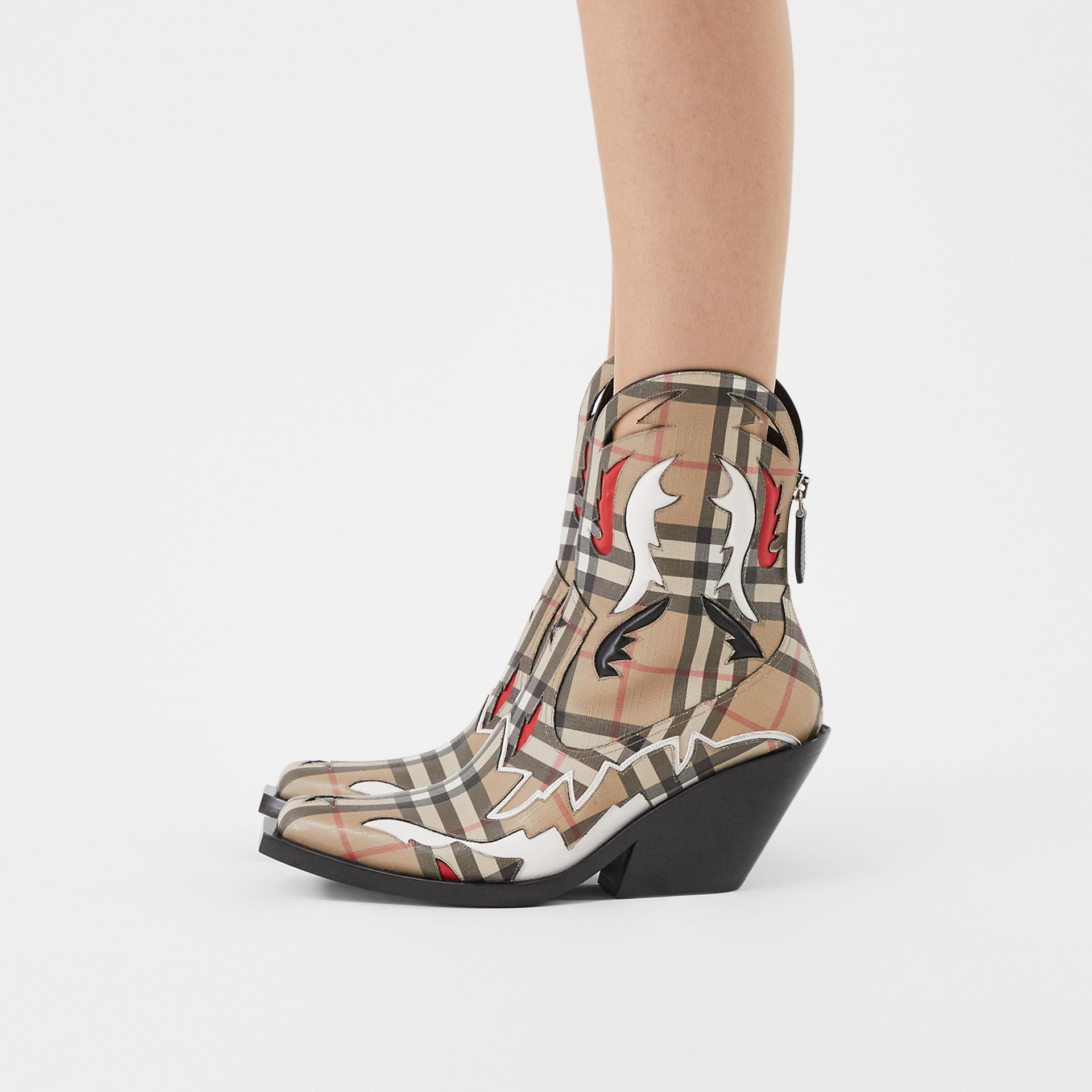 Topstitch Appliqué Vintage Check E-canvas Boots in Archive Beige - Women | Burberry - gallery image 2
