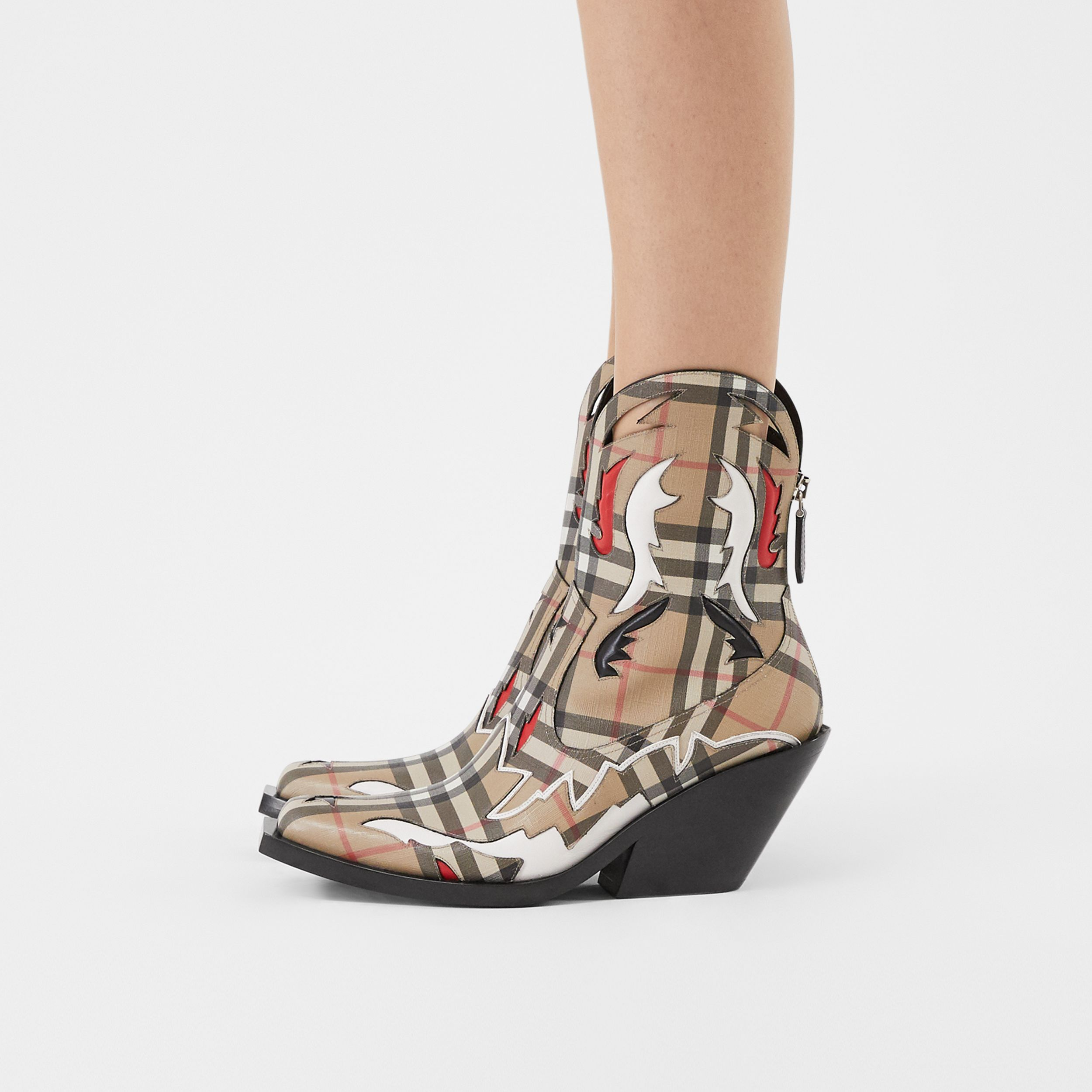 Topstitch Appliqué Vintage Check E-canvas Boots in Archive Beige - Women | Burberry United States - 3
