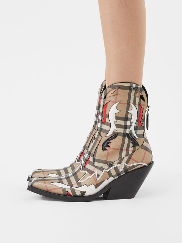 Topstitch Appliqué Vintage Check E-canvas Boots in Archive Beige - Women | Burberry - cell image 2