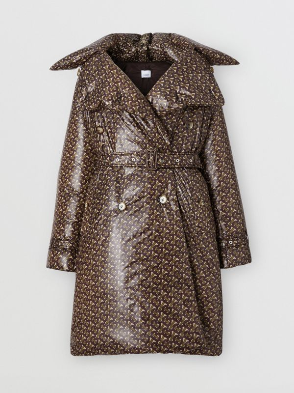 Monogram Print Nylon Down-filled Trench Coat in Bridle Brown - Women | Burberry - cell image 3