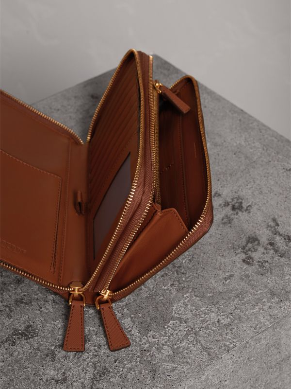 Trench Leather Travel Wallet in Tan - Men | Burberry - cell image 3