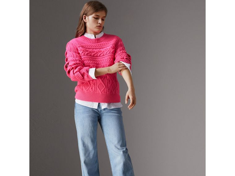Aran Knit Wool Cashmere Sweater in Bright Rose Pink - Women | Burberry - cell image 4