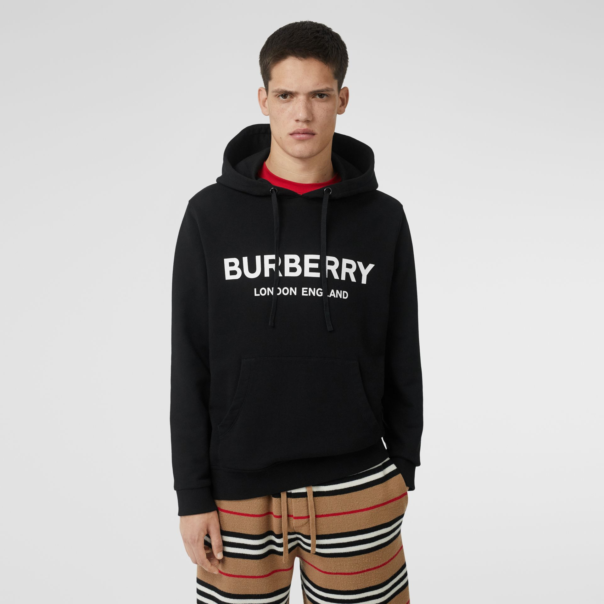 Logo Print Cotton Hoodie in Black - Men | Burberry United Kingdom - gallery image 0