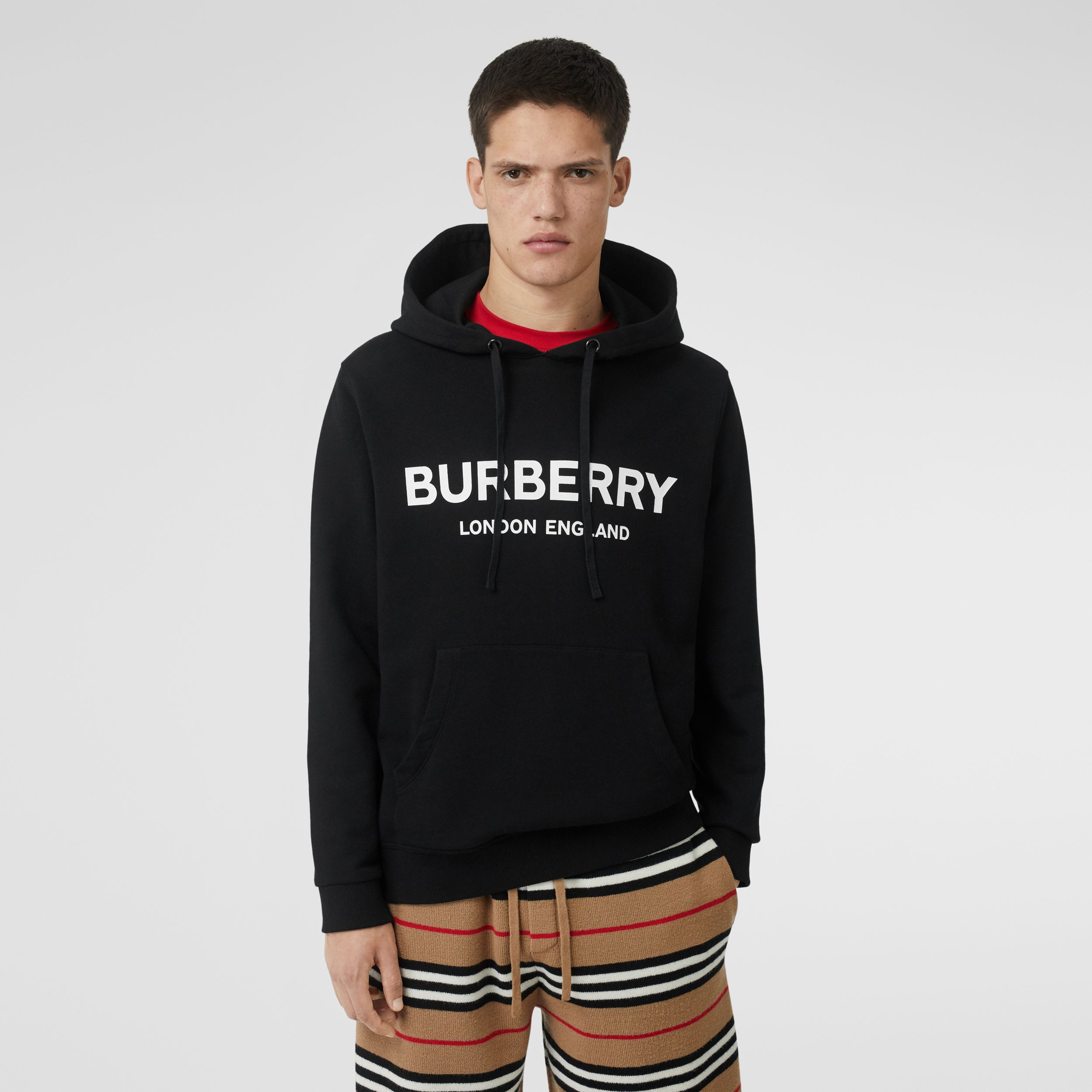 Logo Print Cotton Hoodie in Black - Men | Burberry - 1