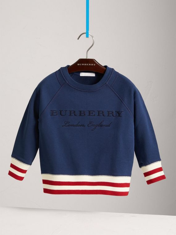 Striped Hem Embroidered Cotton Jersey Sweatshirt in Canvas Blue - Boy | Burberry Canada - cell image 2