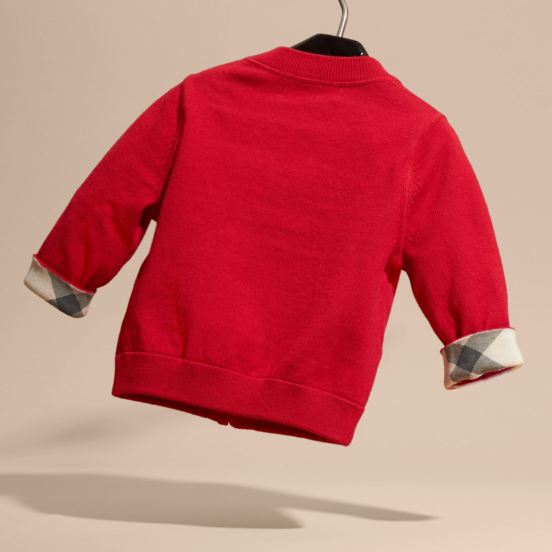 Check Detail Cotton Cardigan Military Red - gallery image 4