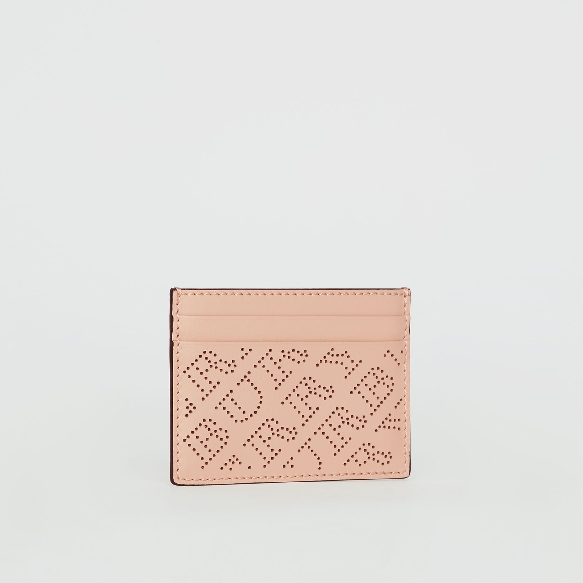 Perforated Logo Leather Card Case in Pale Fawn Pink - Women | Burberry Canada - gallery image 3