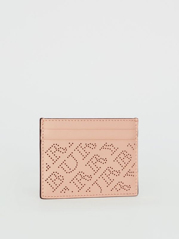 Perforated Logo Leather Card Case in Pale Fawn Pink - Women | Burberry - cell image 3