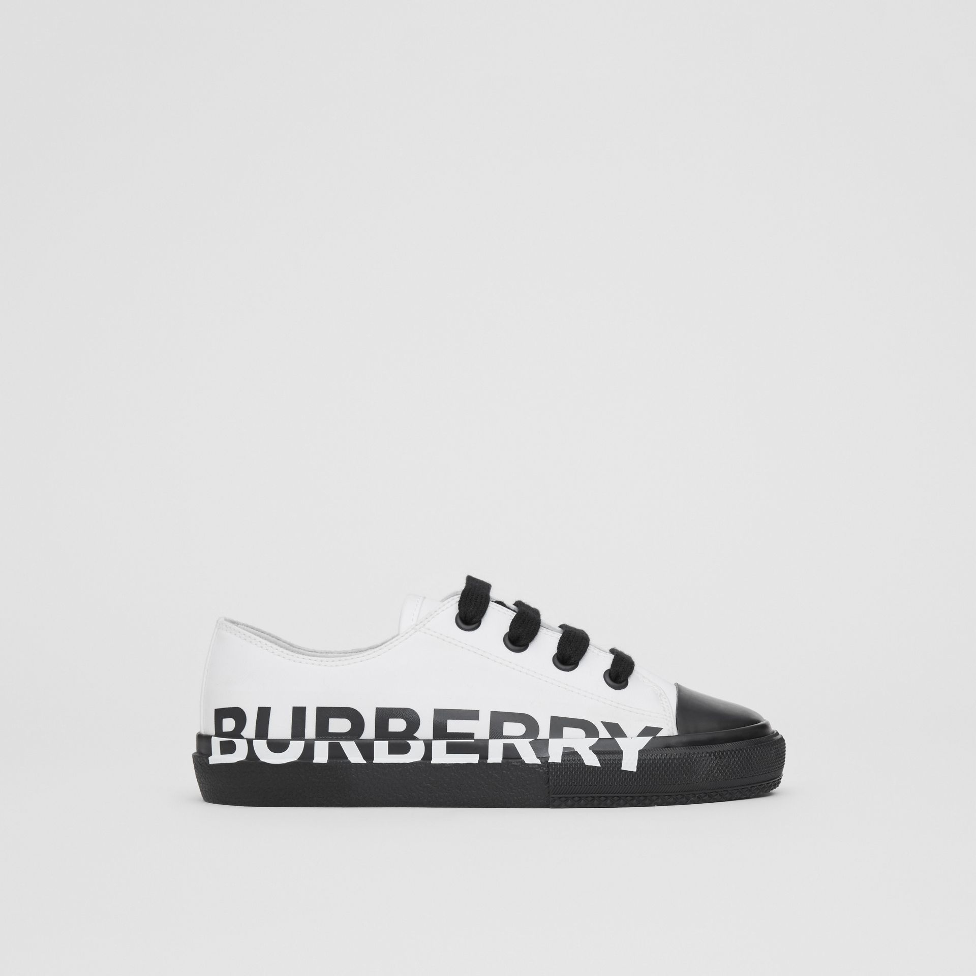 Logo Print Two-tone Cotton Gabardine Sneakers in Optic White/black - Children | Burberry - gallery image 3