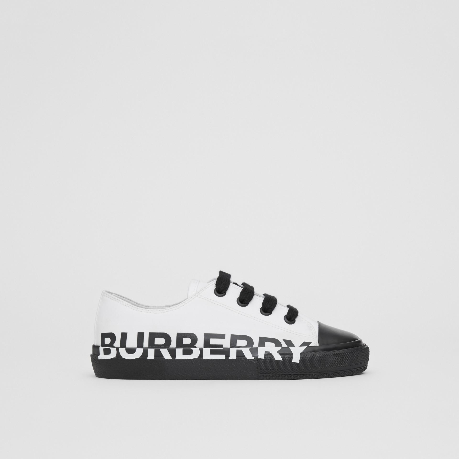 Logo Print Two-tone Cotton Gabardine Sneakers in Optic White/black - Children | Burberry Hong Kong - gallery image 3