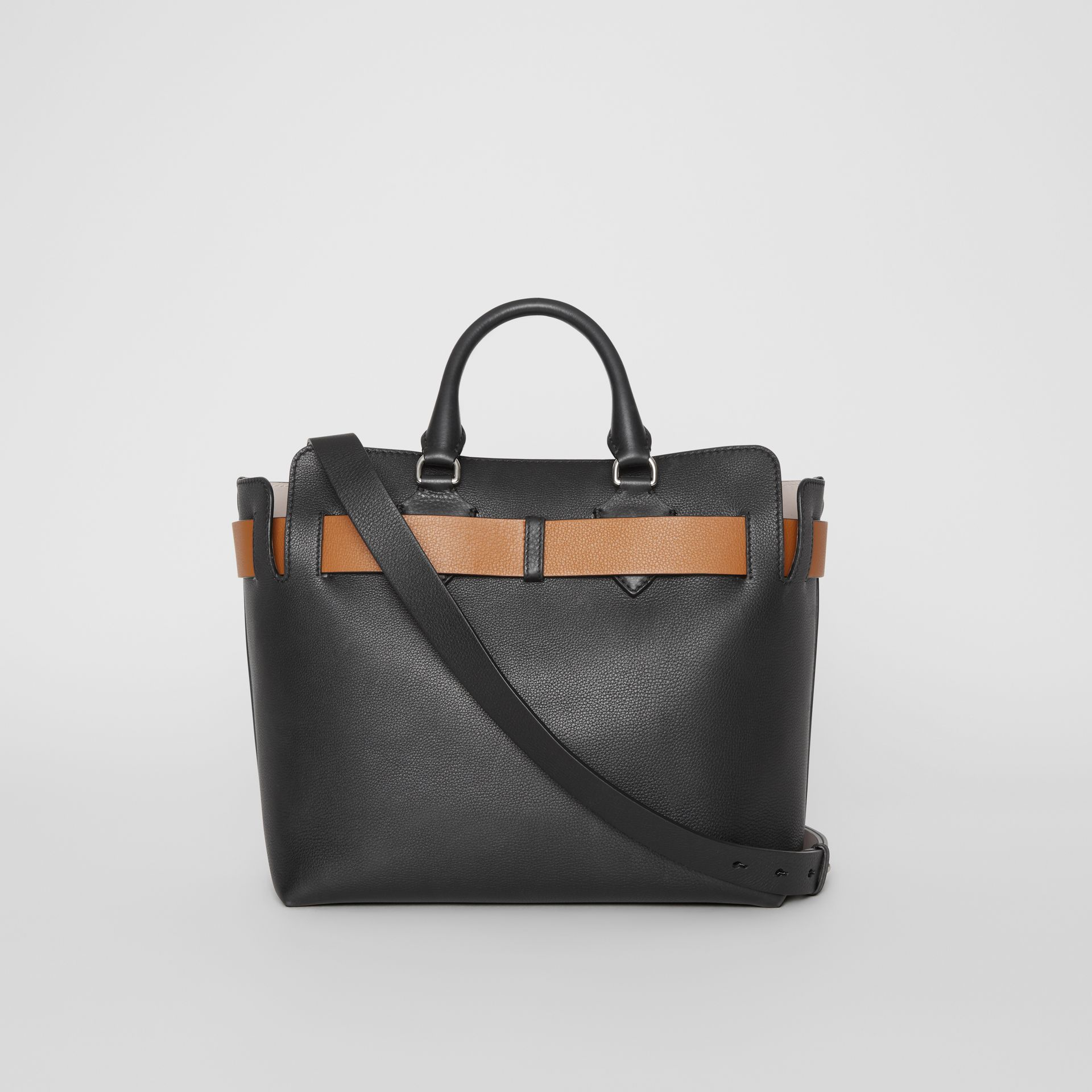 The Medium Leather Belt Bag in Black/tan - Women | Burberry United Kingdom - gallery image 7