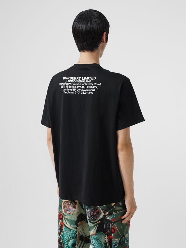 Location Print Cotton Oversized T-shirt in Black - Men | Burberry - cell image 2