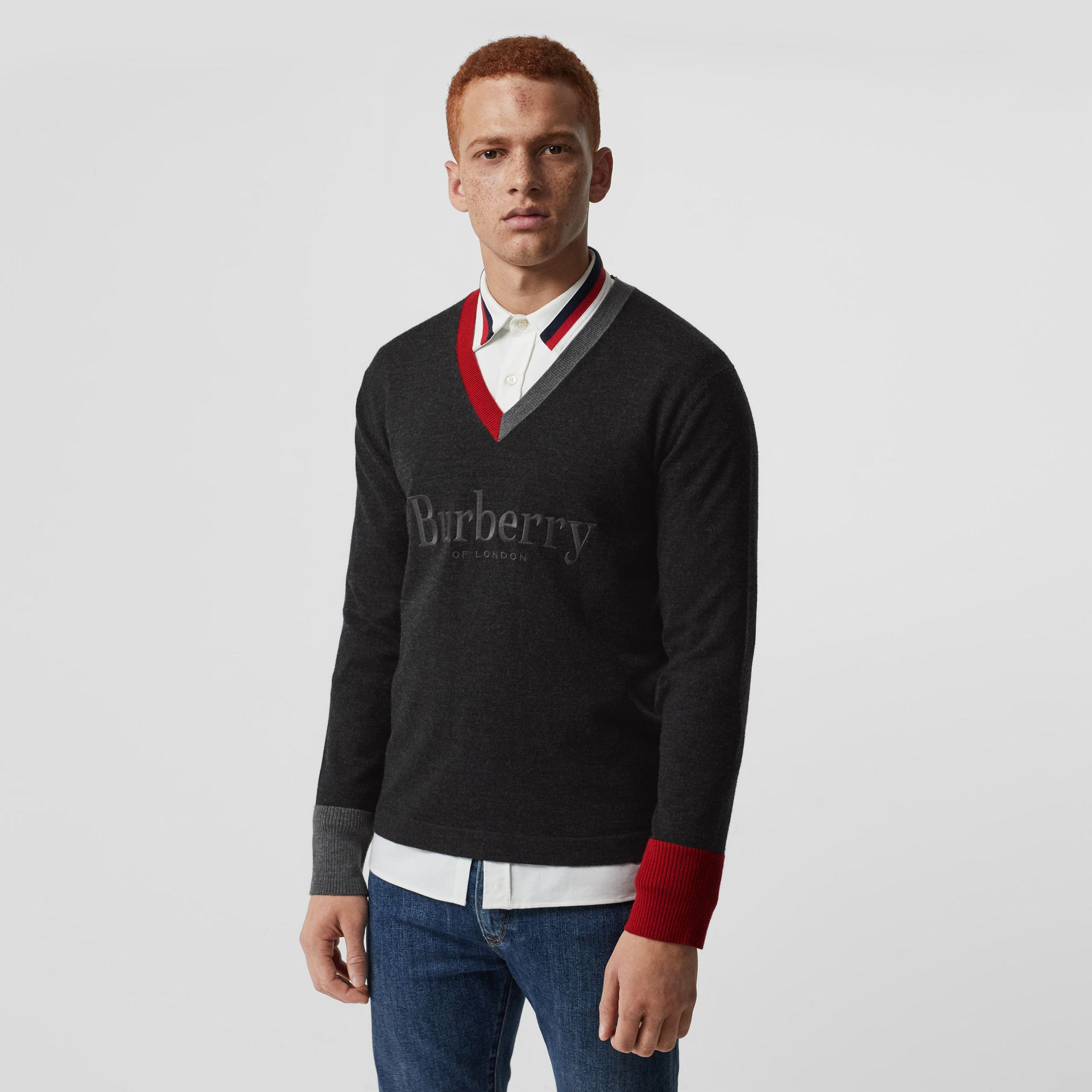 Embroidered Logo Merino Wool V-neck Sweater in Charcoal - Men | Burberry United Kingdom - gallery image 0