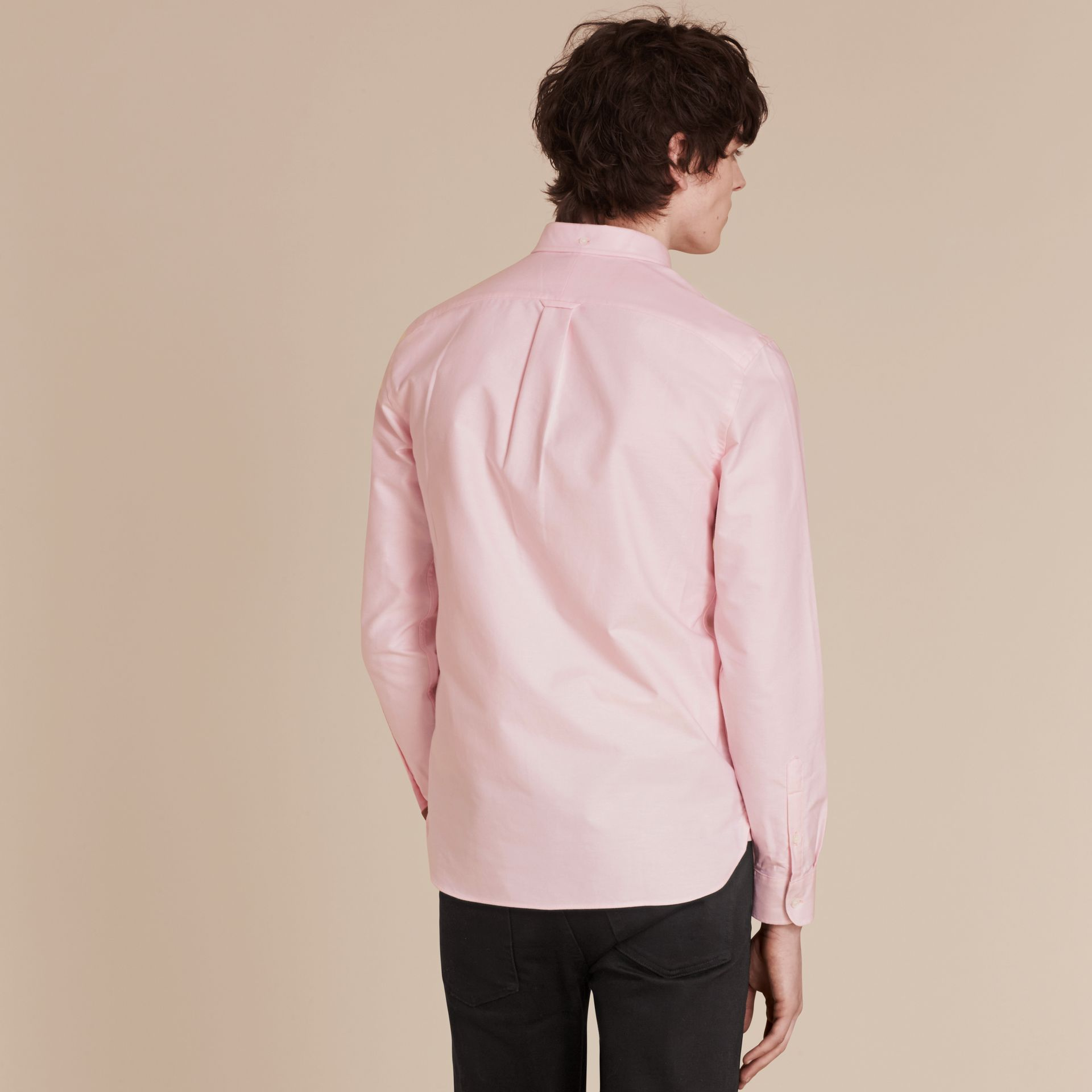Pale pink Check Detail Cotton Oxford Shirt Pale Pink - gallery image 3