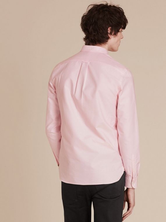Check Detail Cotton Oxford Shirt in Pale Pink - cell image 2