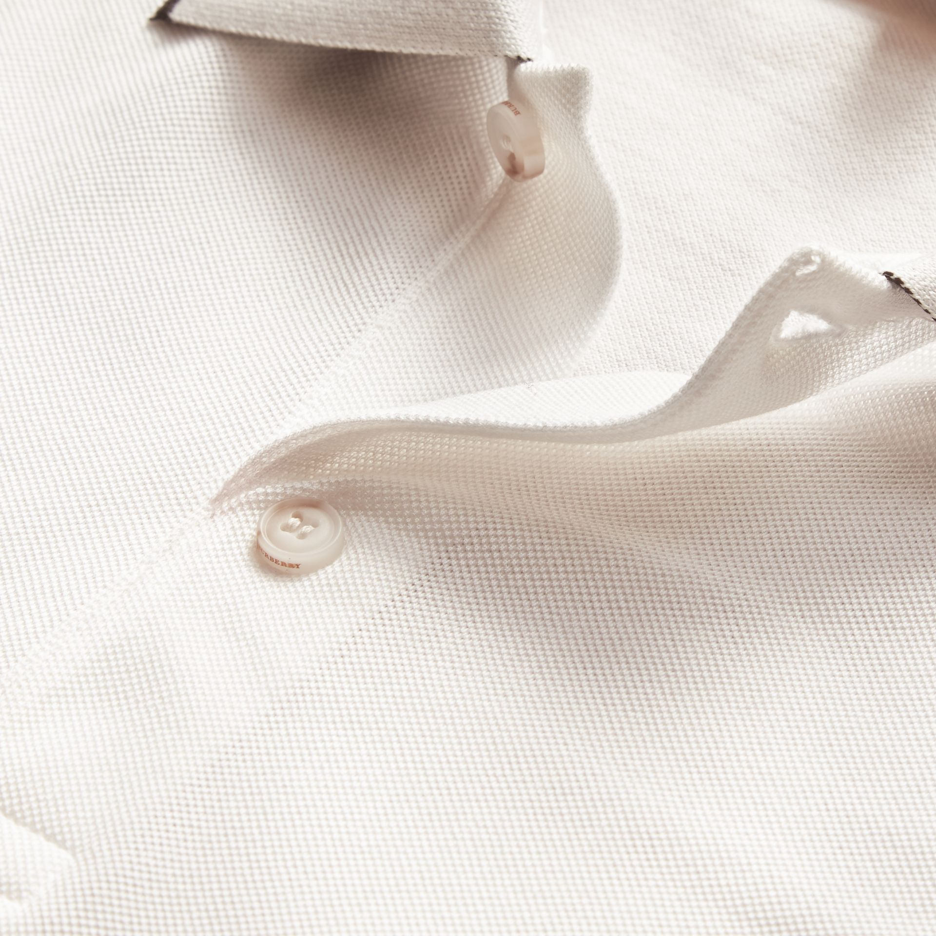 Tipped Collar Cotton Piqué Polo Shirt White - gallery image 2