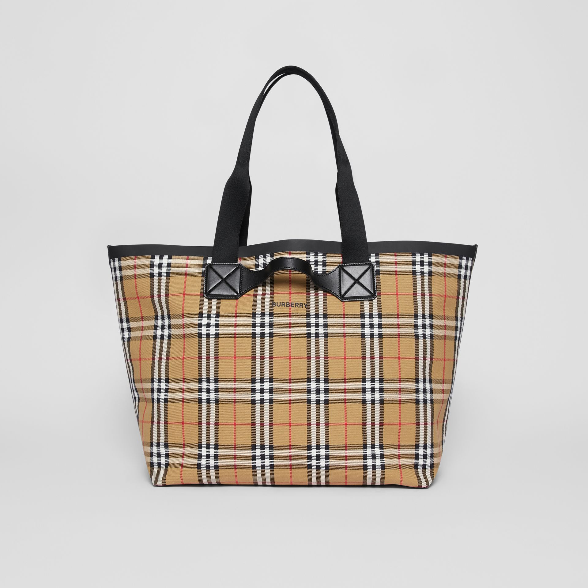 Large Vintage Check Austen Tote in Archive Beige - Women | Burberry Canada - gallery image 0