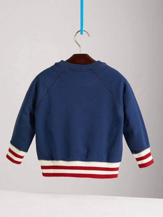 Striped Hem Embroidered Cotton Jersey Sweatshirt in Canvas Blue - Boy | Burberry - cell image 3