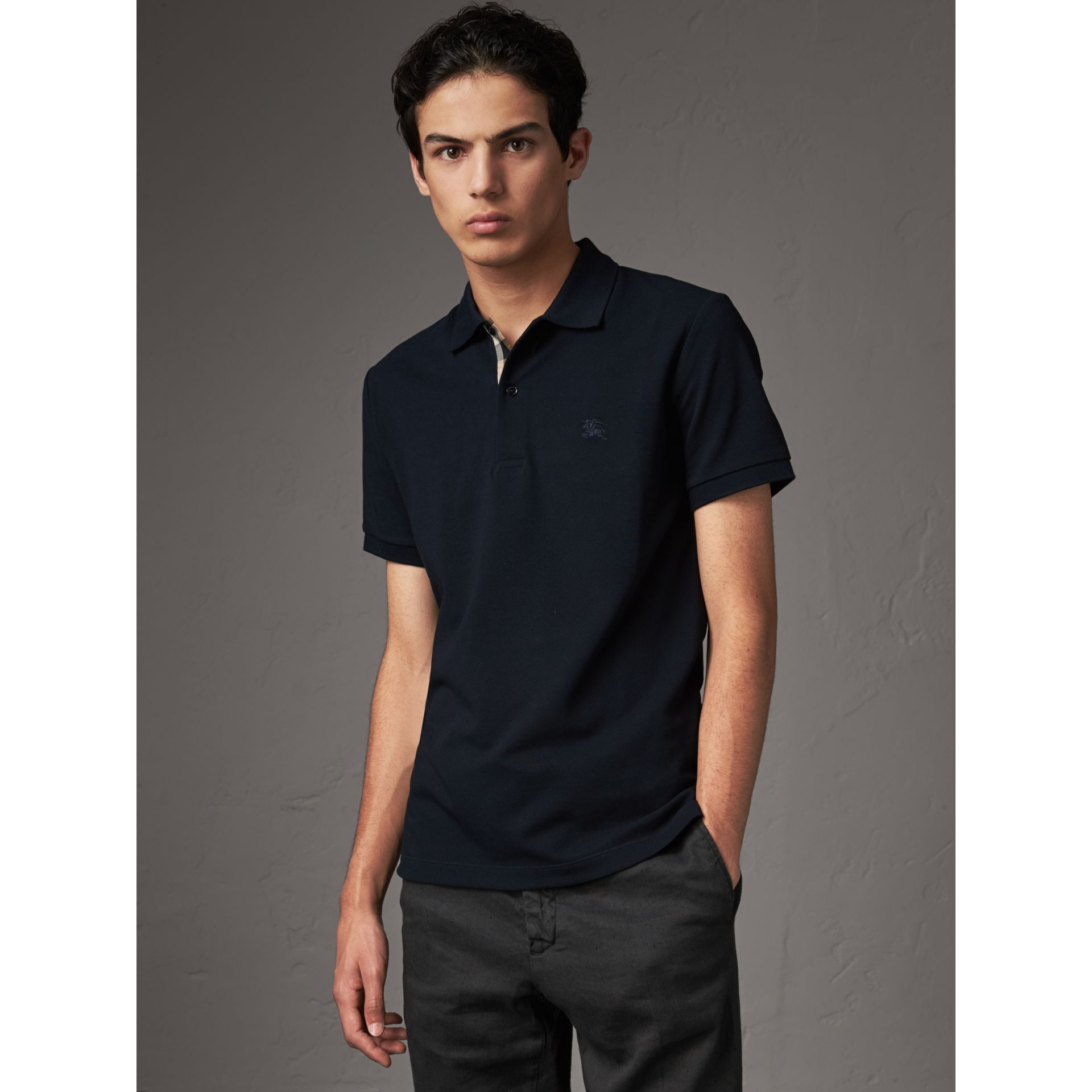 Check Placket Cotton Piqué Polo Shirt in Dark Navy - Men | Burberry Singapore - gallery image 1