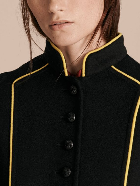 Black Piped Cropped Military Wool Cashmere Jacket - cell image 2