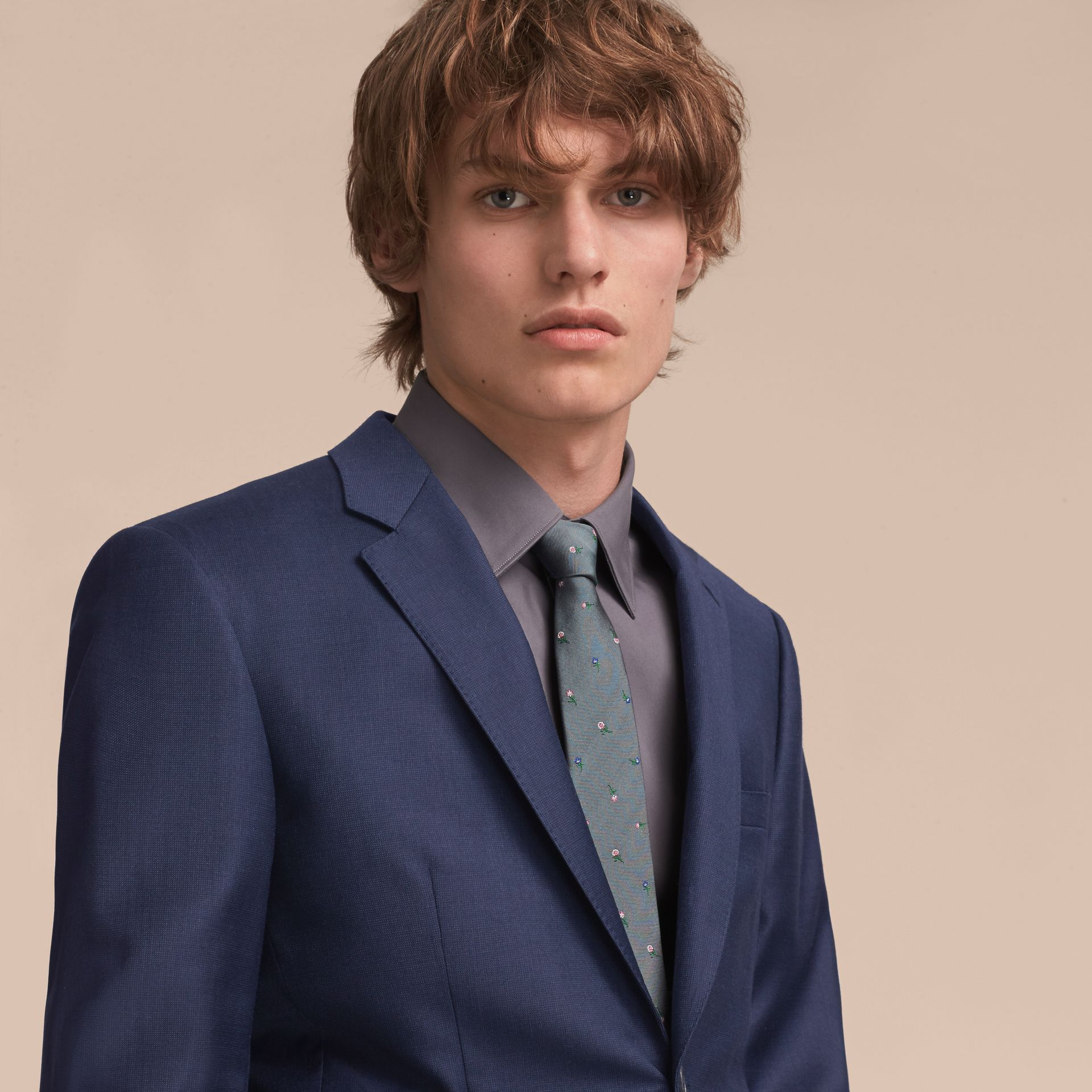 Slim Cut Floral Silk Jacquard Tie in Dusty Teal - Men | Burberry - gallery image 3