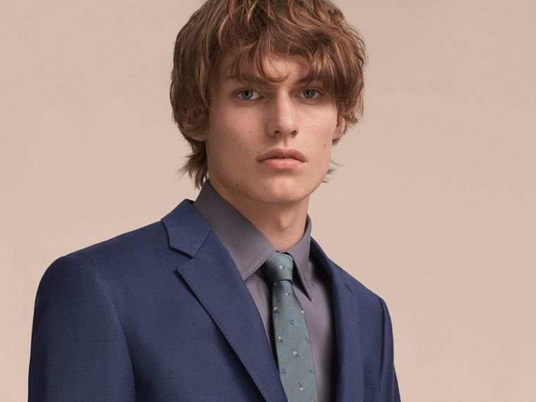 Slim Cut Floral Silk Jacquard Tie in Dusty Teal - Men | Burberry - cell image 2