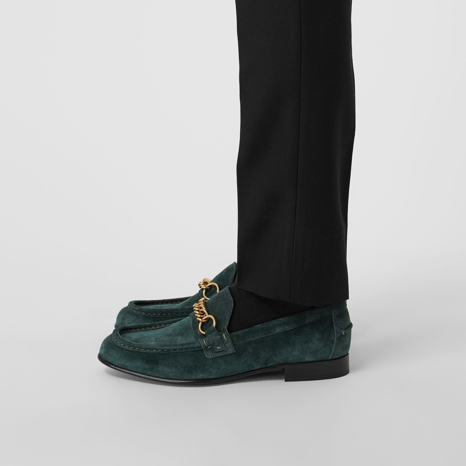 The Suede Link Loafer in Dark Slate Green - Men | Burberry United Kingdom - gallery image 2