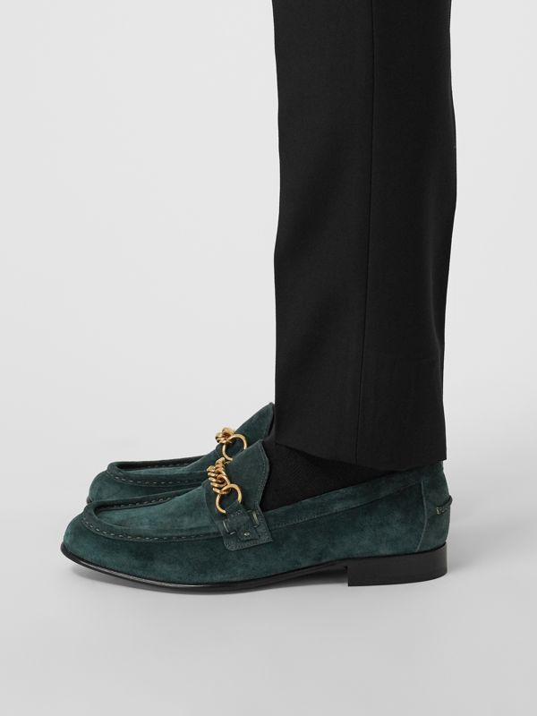 The Suede Link Loafer in Dark Slate Green - Men | Burberry Australia - cell image 2