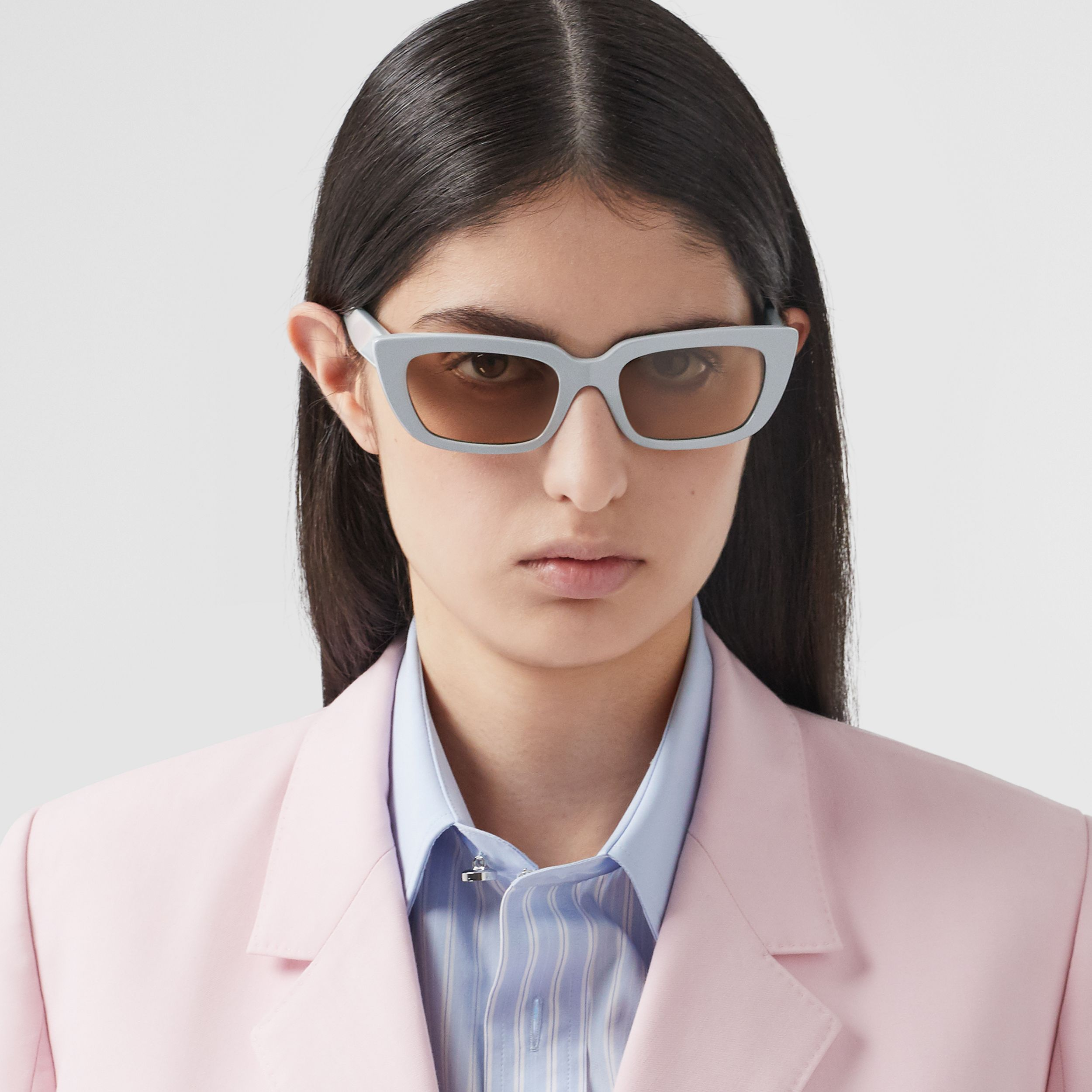 Bio-acetate Rectangular Frame Sunglasses in Grey - Women | Burberry Singapore - 3