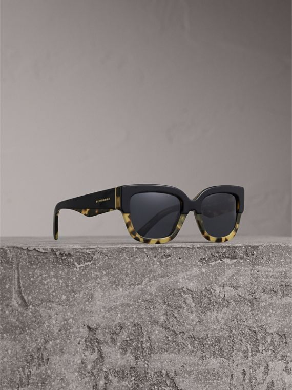 Two-tone Square Frame Sunglasses in Black - Women | Burberry Singapore