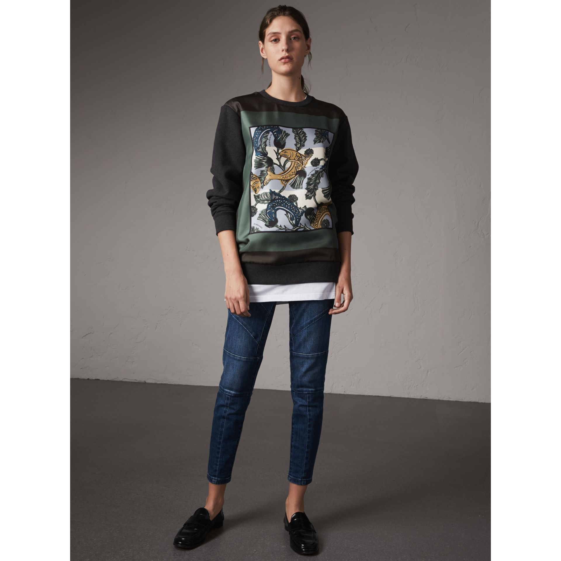 Unisex Beasts Print Silk Panel Cotton Sweatshirt in Charcoal Melange - Women | Burberry - gallery image 6
