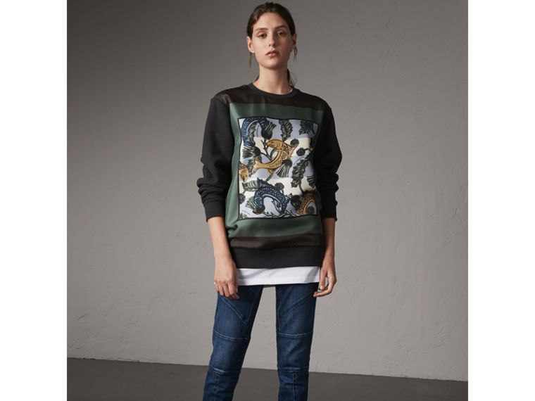 Unisex Beasts Print Silk Panel Cotton Sweatshirt - Women | Burberry Hong Kong - cell image 4