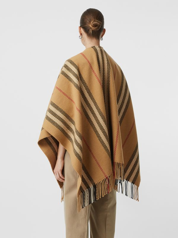 Stripe Wool Cashmere Cape in Black - Women | Burberry Australia - cell image 2