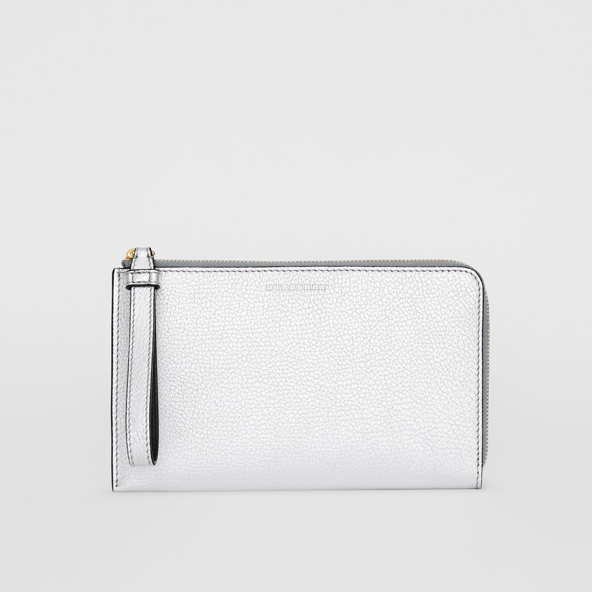 Two-tone Metallic Leather Travel Wallet in Silver - Women | Burberry Australia - gallery image 0