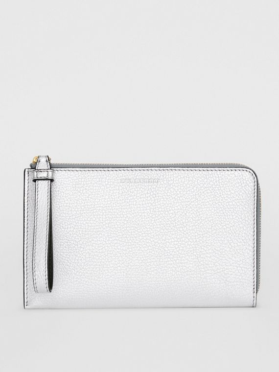 Two-tone Metallic Leather Travel Wallet in Silver