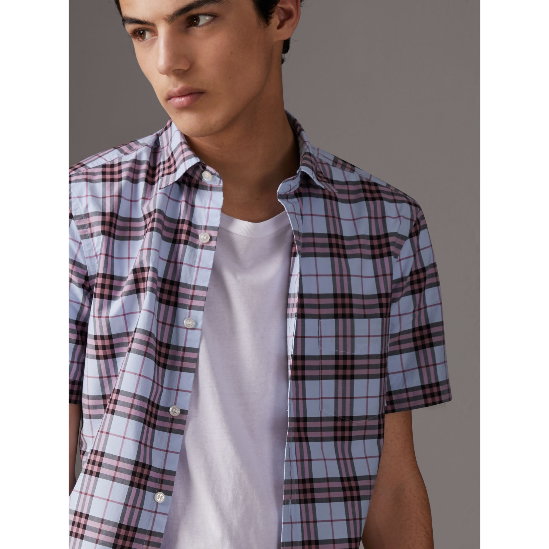 Short-sleeve Check Cotton Shirt in Lavender Blue - Men | Burberry Australia - gallery image 1