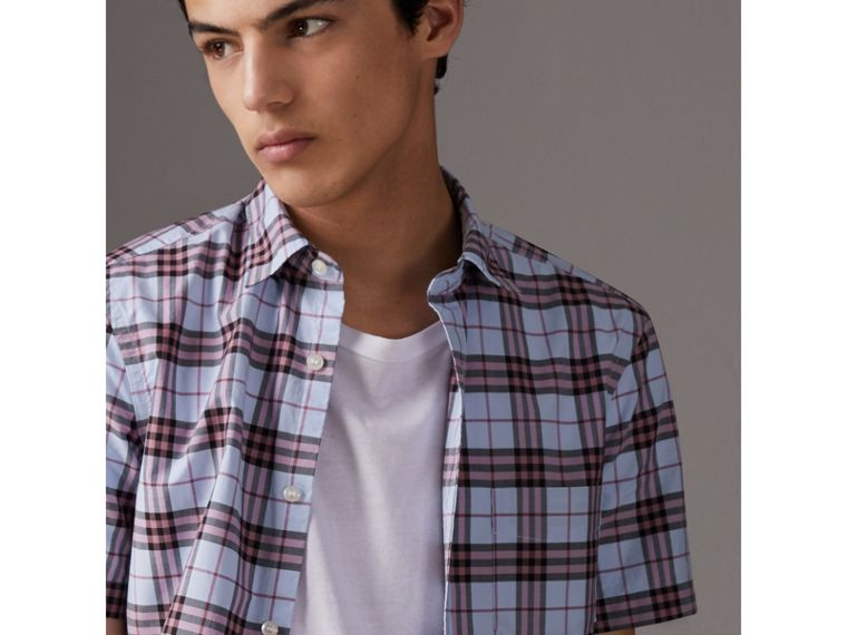 Short-sleeve Check Cotton Shirt in Lavender Blue - Men | Burberry Canada - cell image 1