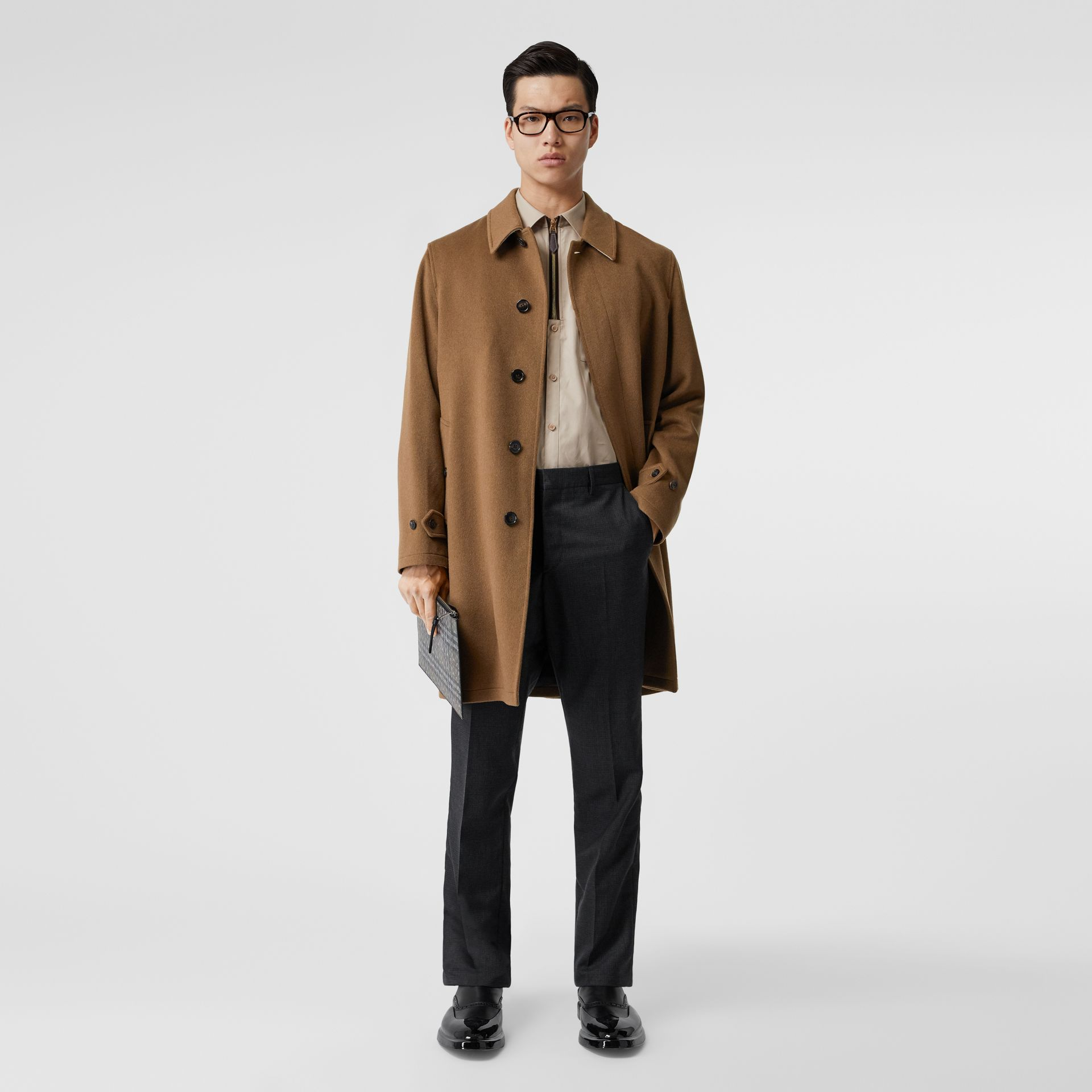 Cashmere Car Coat in Dark Camel - Men | Burberry - gallery image 0