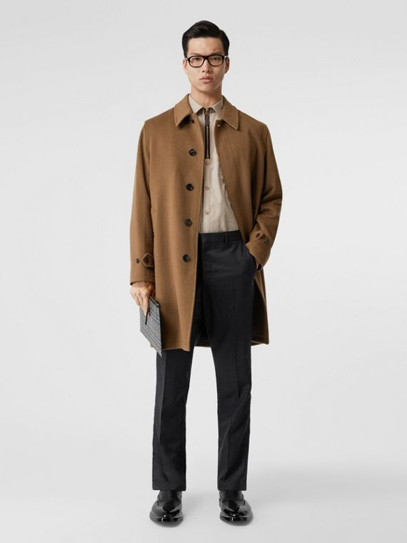 Cashmere Car Coat in Dark Camel