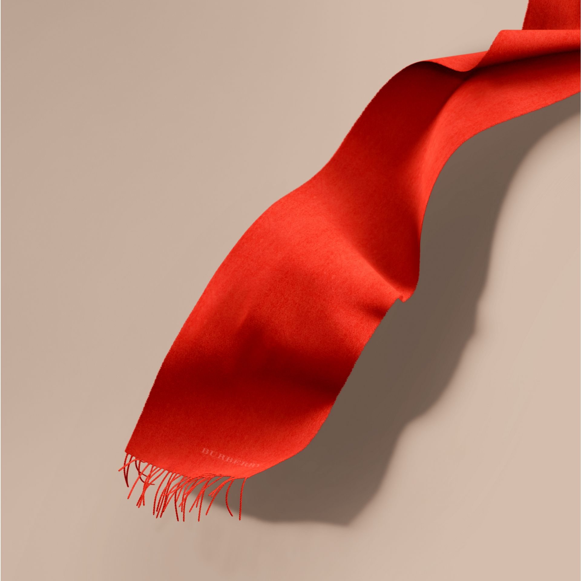 The Classic Cashmere Scarf in Bright Orange Red | Burberry - gallery image 1