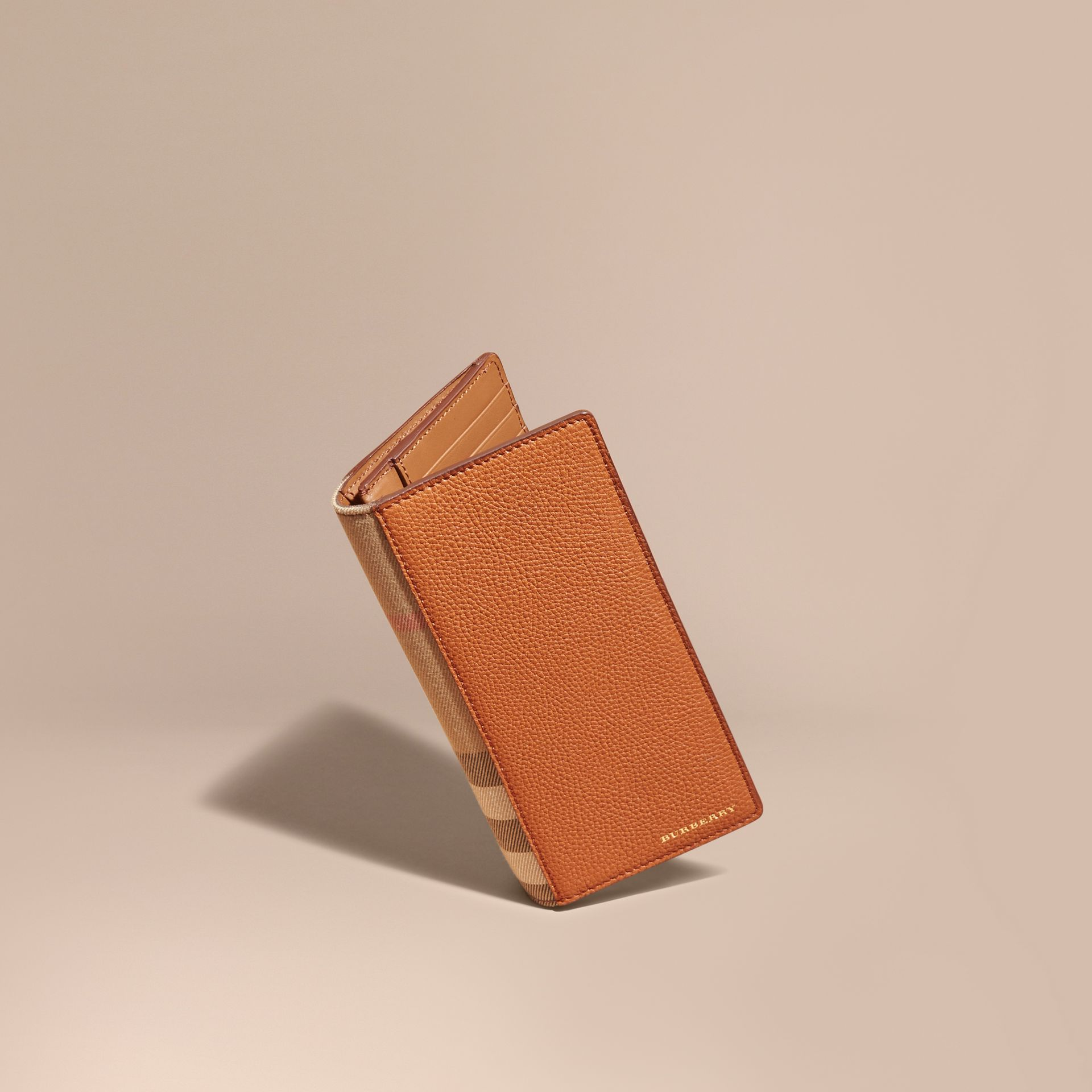 House Check and Grainy Leather Continental Wallet Russet - gallery image 1
